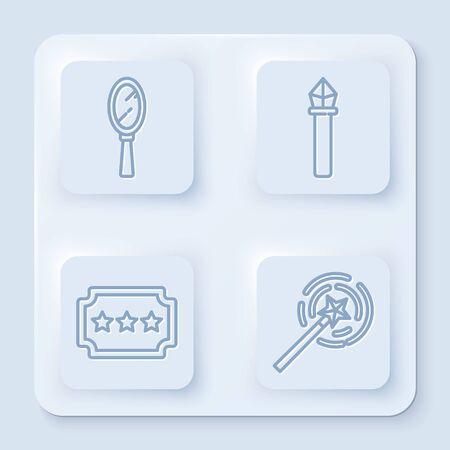 Set line Magic hand mirror, Magic staff, Ticket and Magic wand. White square button Illustration