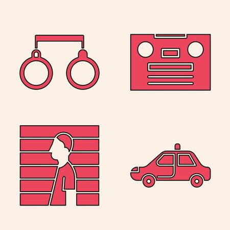 Set Police car and flasher, Handcuffs, Retro audio cassette tape and Suspect criminal icon Vectores