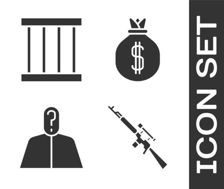 Set Sniper rifle with scope, Prison window, Anonymous with question mark and Money bag icon Vectores