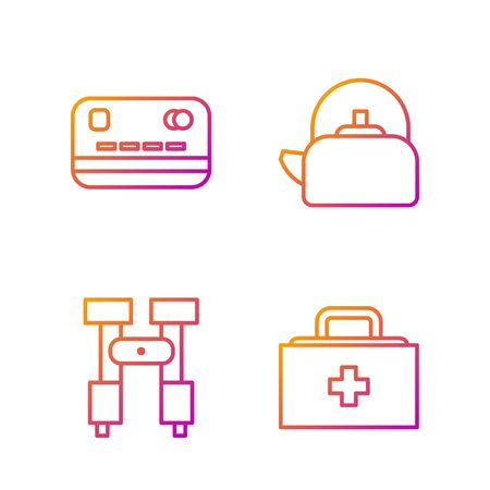 Set line First aid kit, Binoculars, Credit card and Kettle with handle. Gradient color icons. Vector