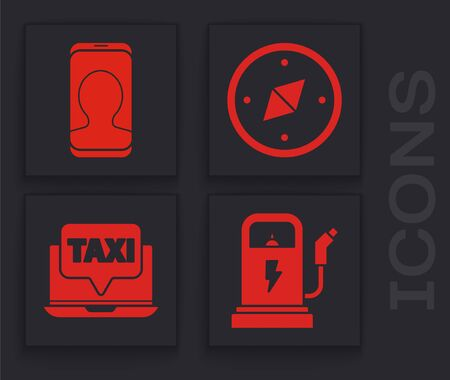 Set Electric car charging station, Taxi call telephone service, Compass and Laptop call taxi service icon. Vector