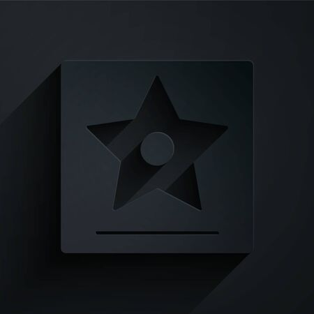 Paper cut star icon isolated on black background. Paper art style. Vector Illustration