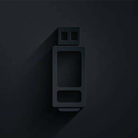 Paper cut USB flash drive icon isolated on black background. Paper art style. Vector Illustration Illustration