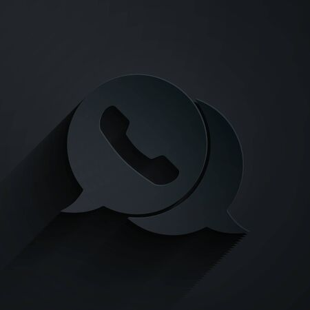 Paper cut Telephone with speech bubble chat icon isolated on black background. Support customer service, hotline, call center, faq. Paper art style. Vector Illustration