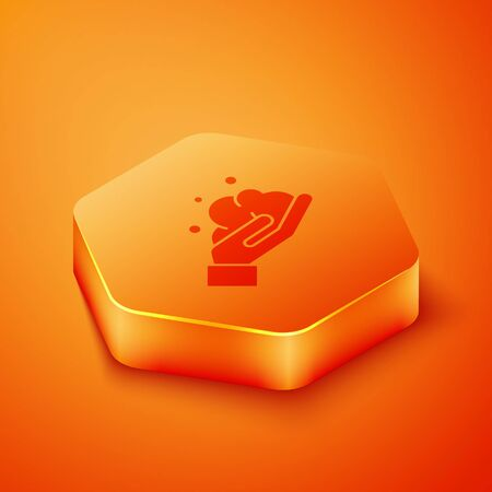 Isometric Washing hands with soap icon isolated on orange background. Washing hands with soap to prevent virus and bacteria. Orange hexagon button. Vector Illustration Illustration