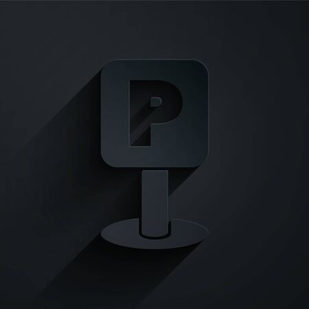 Paper cut Parking icon isolated on black background. Street road sign. Paper art style. Vector Illustration Illustration