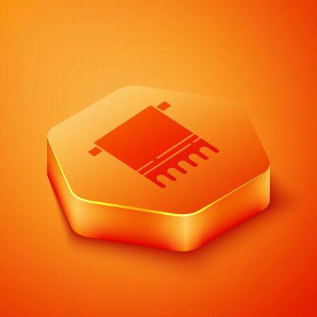 Isometric Towel on a hanger icon isolated on orange background. Bathroom towel icon. Orange hexagon button. Vector Illustration Vectores