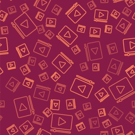 Brown line Online play video icon isolated seamless pattern on red background. Film strip with play sign. Vector Illustration Иллюстрация