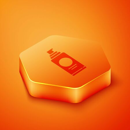 Isometric Spray can for hairspray, deodorant, antiperspirant icon isolated on orange background. Orange hexagon button. Vector Illustration