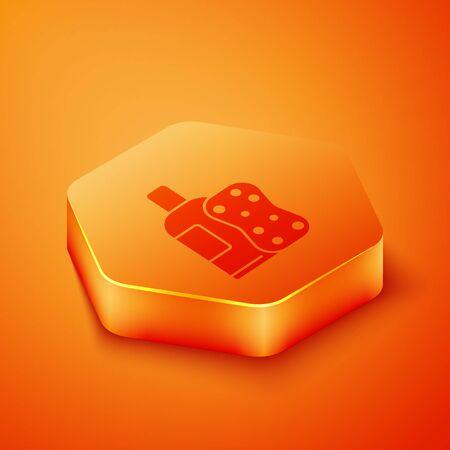 Isometric Bottle of shampoo and sponge icon isolated on orange background. Orange hexagon button. Vector Illustration