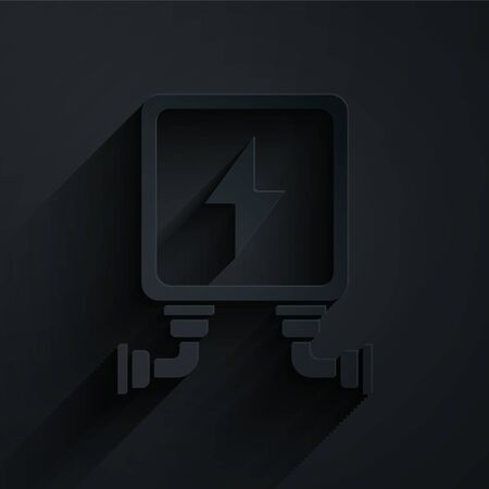 Paper cut Electric transformer icon isolated on black background. Paper art style. Vector Illustration