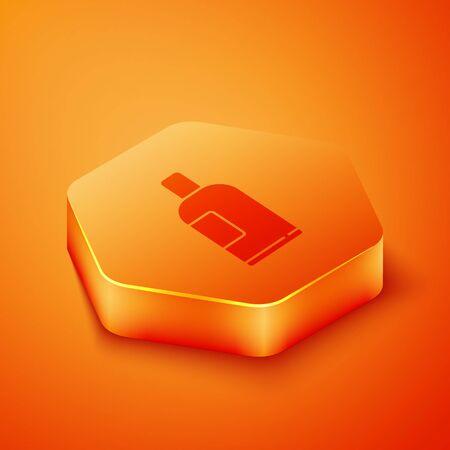 Isometric Bottle of shampoo icon isolated on orange background. Orange hexagon button. Vector Illustration
