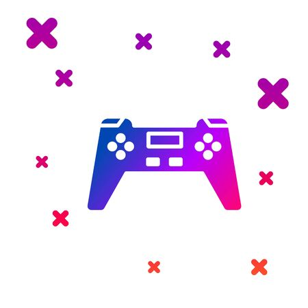 Color Gamepad icon isolated on white background. Game controller. Gradient random dynamic shapes. Vector Illustration Ilustracja