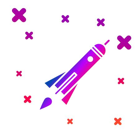 Color Rocket ship with fire icon isolated on white background. Space travel. Gradient random dynamic shapes. Vector Illustration