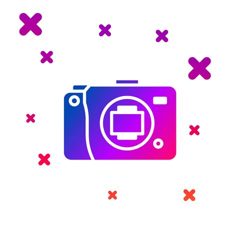 Color Mirrorless camera icon isolated on white background. Foto camera icon. Gradient random dynamic shapes. Vector Illustration
