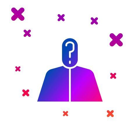 Color Anonymous man with question mark icon isolated on white background. Unknown user, incognito profile, business secrecy, obscurity. Gradient random dynamic shapes. Vector Illustration Vectores