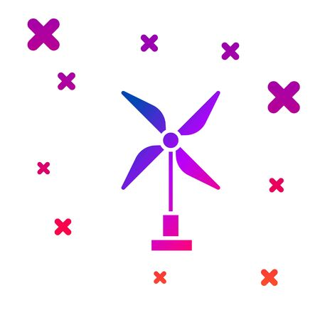 Color Wind turbine icon isolated on white background. Wind generator sign. Windmill for electric power production. Gradient random dynamic shapes. Vector Illustration