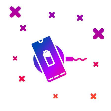 Color Smartphone charging on wireless charger icon isolated on white background. Charging battery on charging pad. Gradient random dynamic shapes. Vector Ilustracja