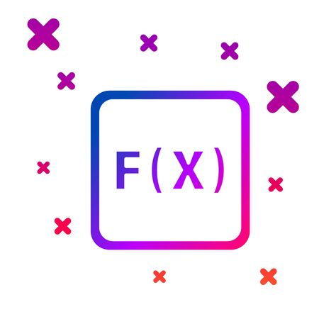 Color Function mathematical symbol icon isolated on white background. Gradient random dynamic shapes. Vector Ilustracja