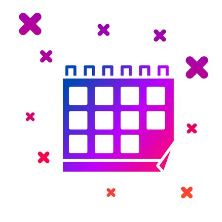Color Calendar icon isolated on white background. Event reminder symbol. Gradient random dynamic shapes. Vector