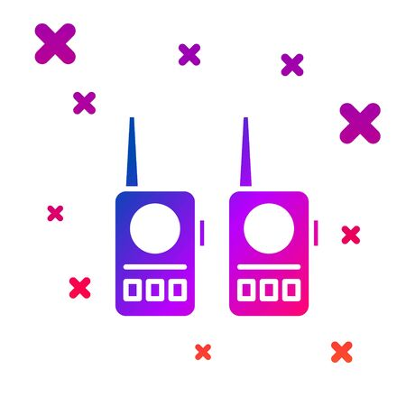 Color Walkie talkie icon isolated on white background. Portable radio transmitter icon. Radio transceiver sign. Gradient random dynamic shapes. Vector