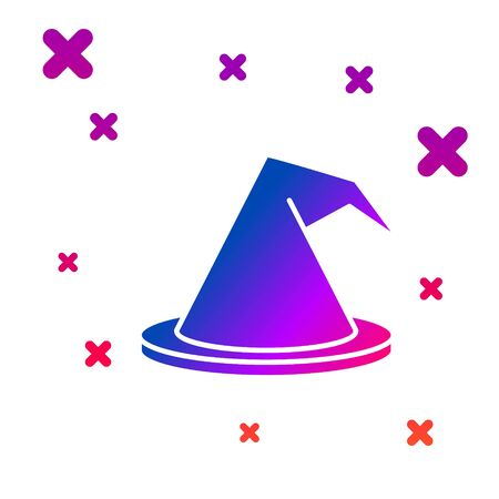 Color Witch hat icon isolated on white background. Happy Halloween party. Gradient random dynamic shapes. Vector Illustration Ilustracja