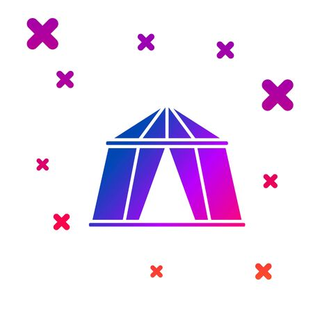 Color Circus tent icon isolated on white background. Carnival camping tent. Amusement park. Gradient random dynamic shapes. Vector Illustration