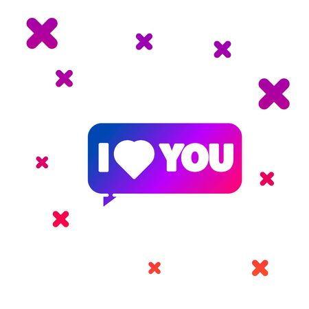 Color Speech bubble with text I love you icon isolated on white background. 8 March. International Happy Women Day. Gradient random dynamic shapes. Vector