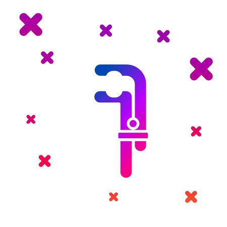 Color Clamp tool icon isolated on white background. Locksmith tool. Gradient random dynamic shapes. Vector Ilustracja