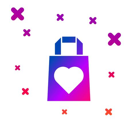 Color Shopping bag with heart icon isolated on white background. 8 March. International Happy Women Day. Gradient random dynamic shapes. Vector