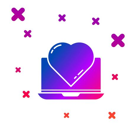 Color Online dating app and chat icon isolated on white background. International Happy Women Day. Gradient random dynamic shapes. Vector Illustration