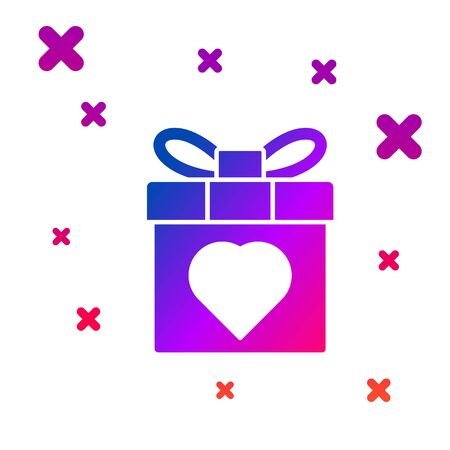 Color Gift box and heart icon isolated on white background. 8 March. International Happy Women Day. Gradient random dynamic shapes. Vector Illustration