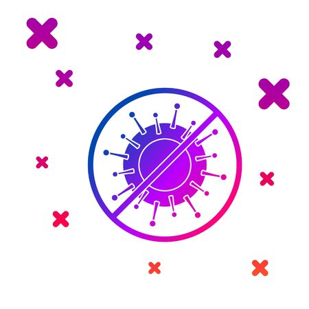 Color Stop virus icon isolated on white background. Corona virus 2019-nCoV. Bacteria and germs, cell cancer, microbe, fungi. Gradient random dynamic shapes. Vector