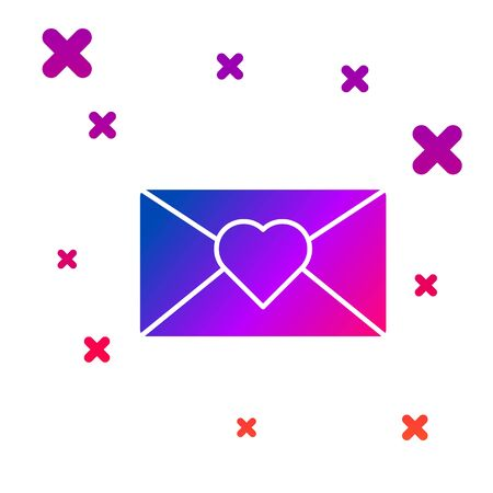 Color Envelope with 8 March icon isolated on white background. Message love. Letter love and romance. International Happy Women Day. Gradient random dynamic shapes. Vector