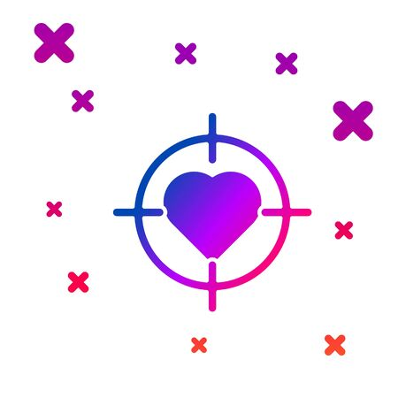 Color Heart in the center of darts target aim icon isolated on white background. International Happy Women Day. Gradient random dynamic shapes. Vector