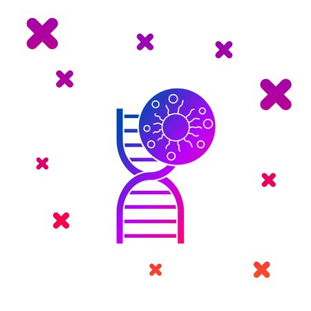 Color DNA symbol and virus icon isolated on white background. Gradient random dynamic shapes. Vector