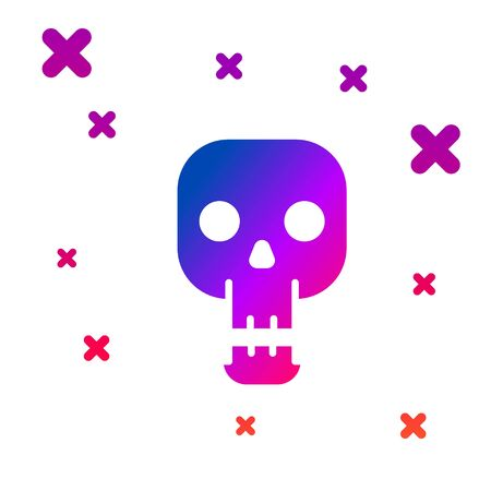 Color Skull icon isolated on white background. Happy Halloween party. Gradient random dynamic shapes. Vector