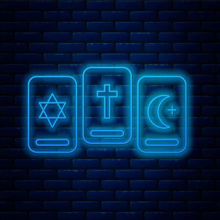 Glowing neon line Three tarot cards icon isolated on brick wall background. Magic occult set of tarot cards. Vector Illustration