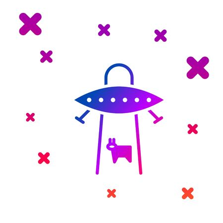 Color UFO abducts cow icon isolated on white background. Flying saucer. Alien space ship. Futuristic unknown flying object. Gradient random dynamic shapes. Vector Vectores