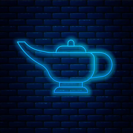 Glowing neon line Magic lamp icon isolated on brick wall background. Spiritual lamp for wish. Vector Illustration Ilustrace