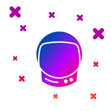 Color Astronaut helmet icon isolated on white background. Gradient random dynamic shapes. Vector