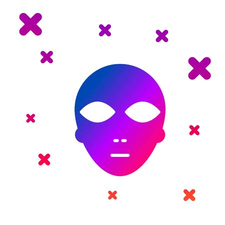 Color Alien icon isolated on white background. Extraterrestrial alien face or head symbol. Gradient random dynamic shapes. Vector Ilustracja
