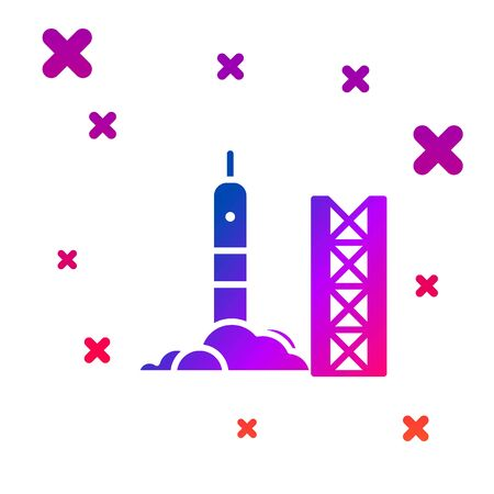 Color Rocket launch from the spaceport icon isolated on white background. Launch rocket in space. Gradient random dynamic shapes. Vector