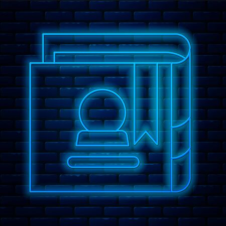 Glowing neon line Ancient magic book with alchemy recipes and mystic spells and enchantments icon isolated on brick wall background. Vector Illustration