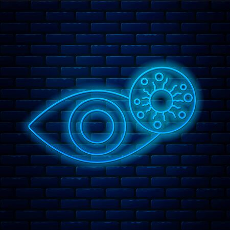 Glowing neon line Reddish eye due to virus, bacterial or allergic conjunctivitis icon isolated on brick wall background. Vector Illustration Vektorové ilustrace