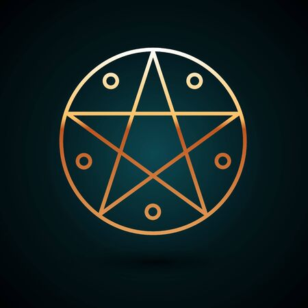 Gold line Pentagram in a circle icon isolated on dark blue background. Magic occult star symbol. Vector Illustration