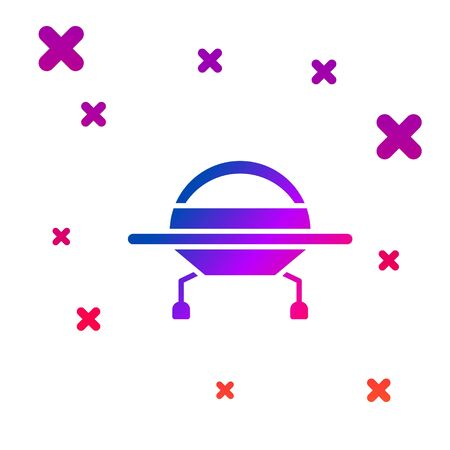 Color UFO flying spaceship icon isolated on white background. Flying saucer. Alien space ship. Futuristic unknown flying object. Gradient random dynamic shapes. Vector Illustration Vectores