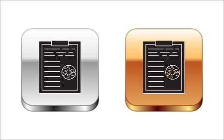 Black Medical clipboard with blood test results icon isolated on white background. Clinical record, medical check marks report. Silver-gold square button. Vector Illustration