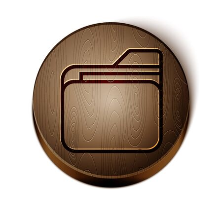 Brown line Document folder icon isolated on white background. Accounting binder symbol. Bookkeeping management. Wooden circle button. Vector Иллюстрация