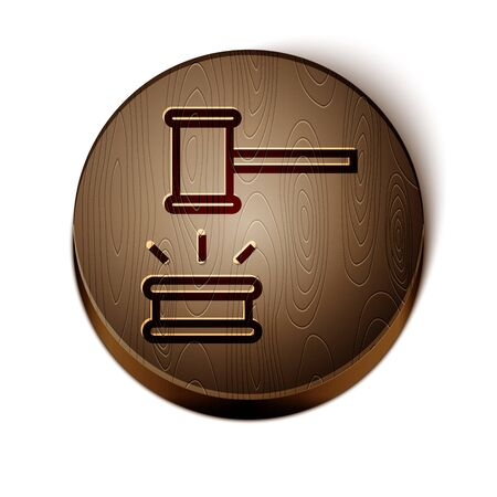Brown line Judge gavel icon isolated on white background. Gavel for adjudication of sentences and bills, court, justice. Auction hammer. Wooden circle button. Vector Иллюстрация